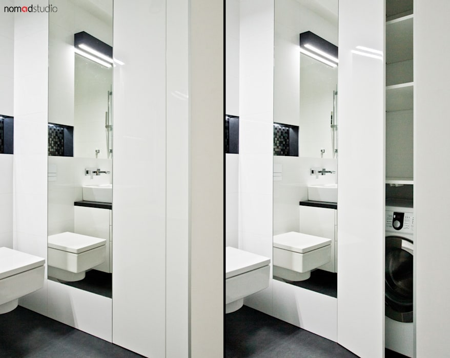 czarno - biała kawalerka: styl , w kategorii Łazienka zaprojektowany przez nomad studio