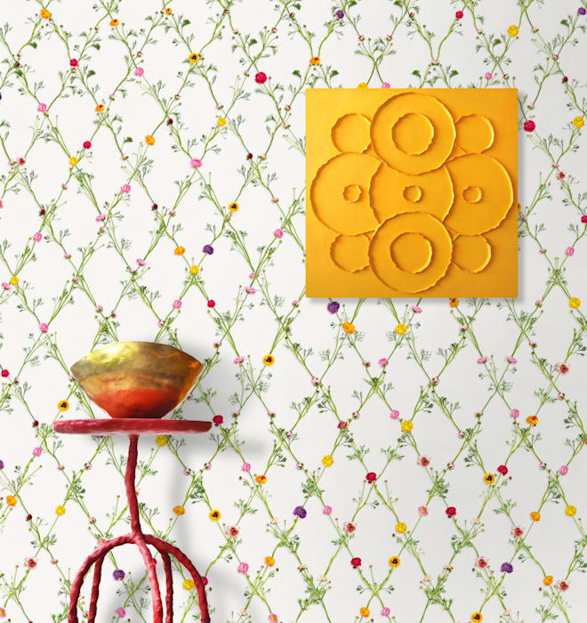 Wallpaper Ranunculus square Klassieke gangen, hallen & trappenhuizen van Snijder&CO Klassiek