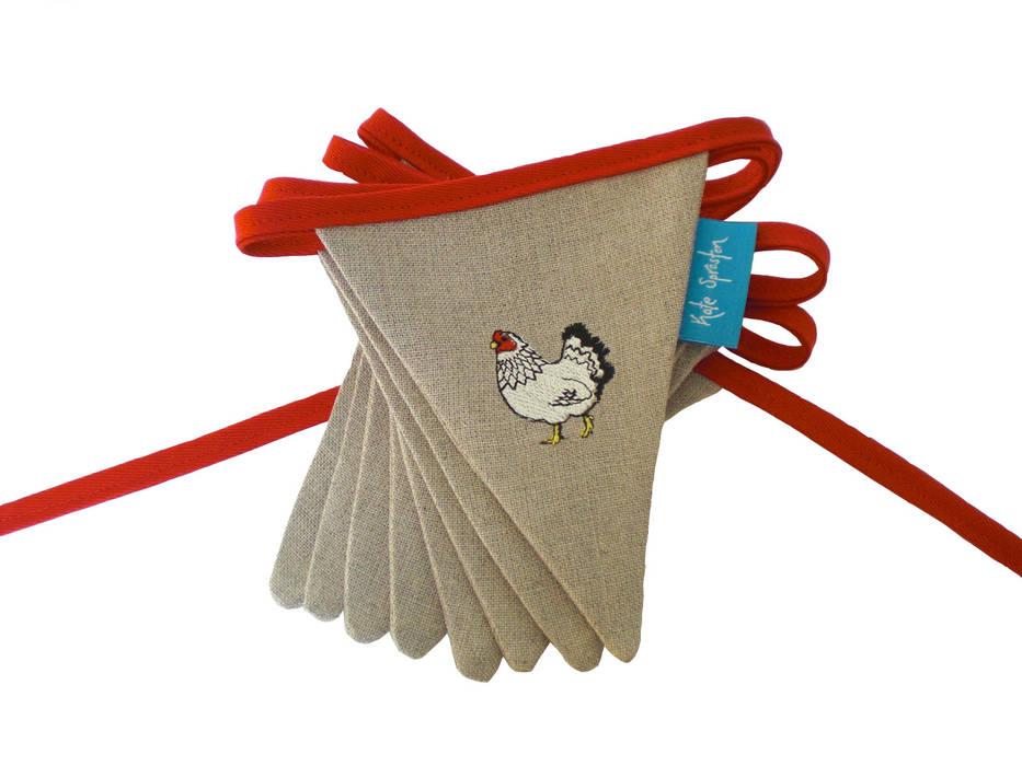 Mr & Mrs Chicken Embroidered Bunting Kate Sproston Design HouseholdTextiles