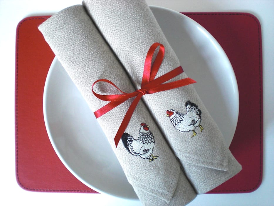Linen Mr & Mrs Chicken Embroidered Napkins Kate Sproston Design HouseholdTextiles