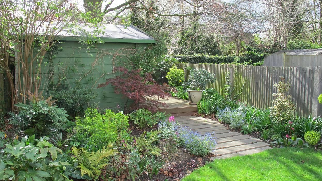 railway sleeper path Fenton Roberts Garden Design Rustic style garden