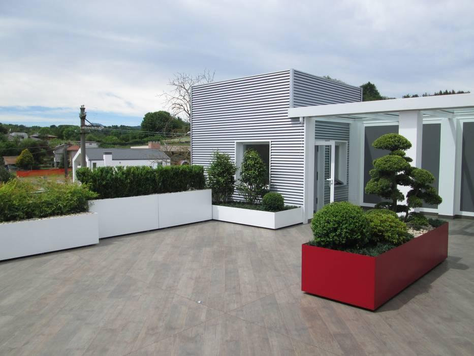 Terrazzo moderno verde bianco rosso foto 1 terrazza for Piante per terrazzi