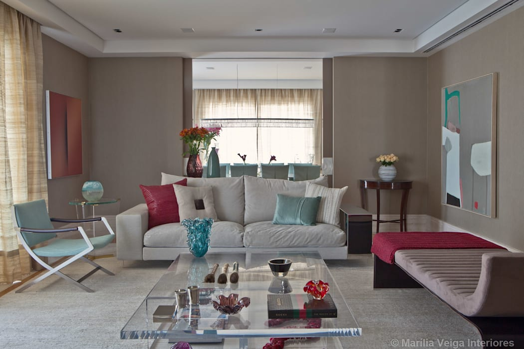 Living + Jantar Salas de estar modernas por Marilia Veiga Interiores Moderno