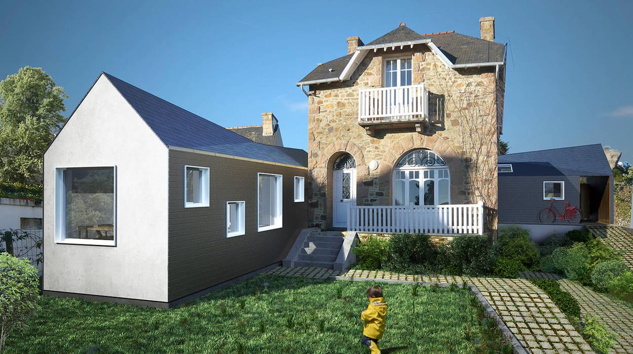 Extensions d'une maison de vacances à Trégastel Maisons modernes par PLAYGROUND ATELIER D'ARCHITECTURES Moderne