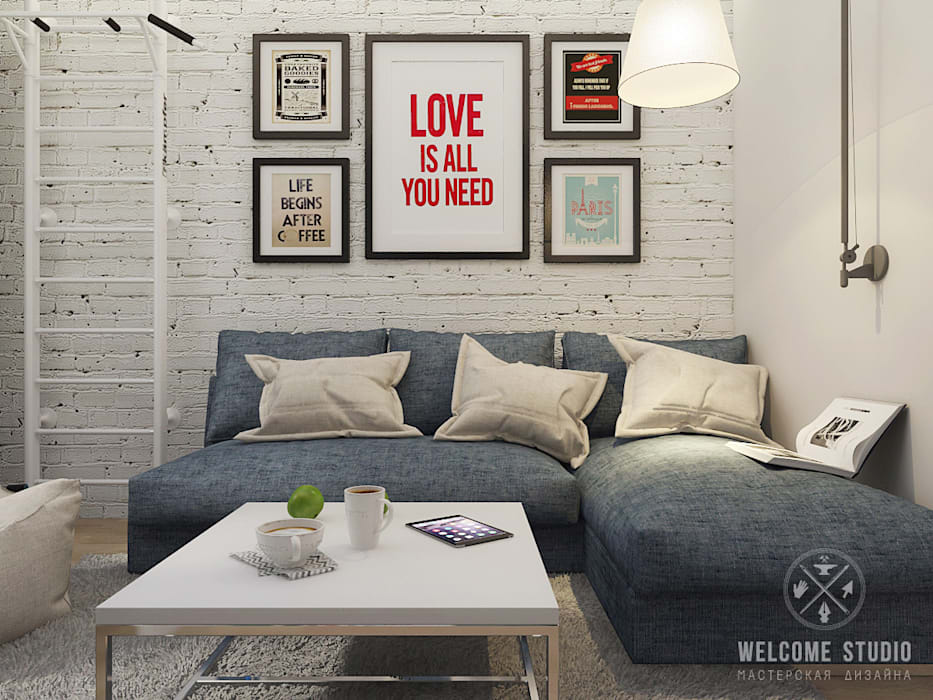 Двухкомнатная квартира в Москве «Голубая дымка»: Гостиная в . Автор – Мастерская дизайна Welcome Studio