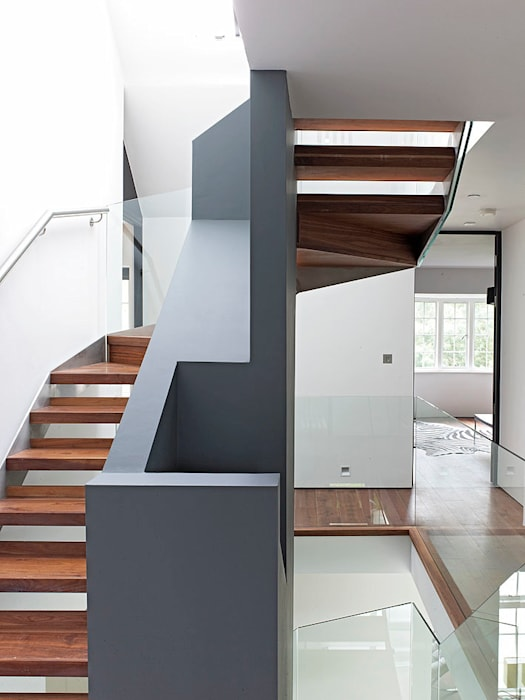 Sheen Lane, Staircase Modern corridor, hallway & stairs by BLA Architects Modern