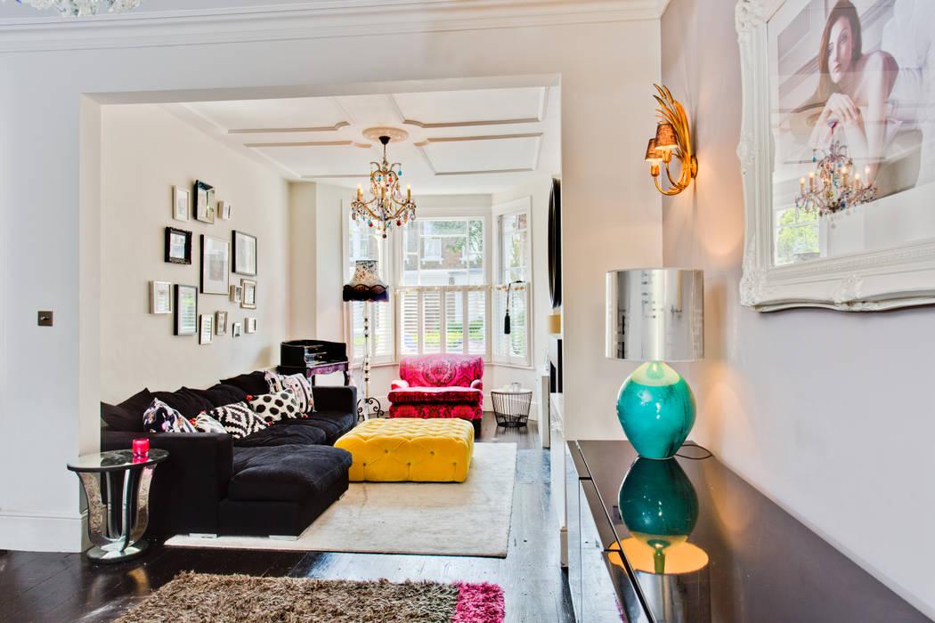 Queens Park House Eklektyczny salon od Honeybee Interiors Eklektyczny