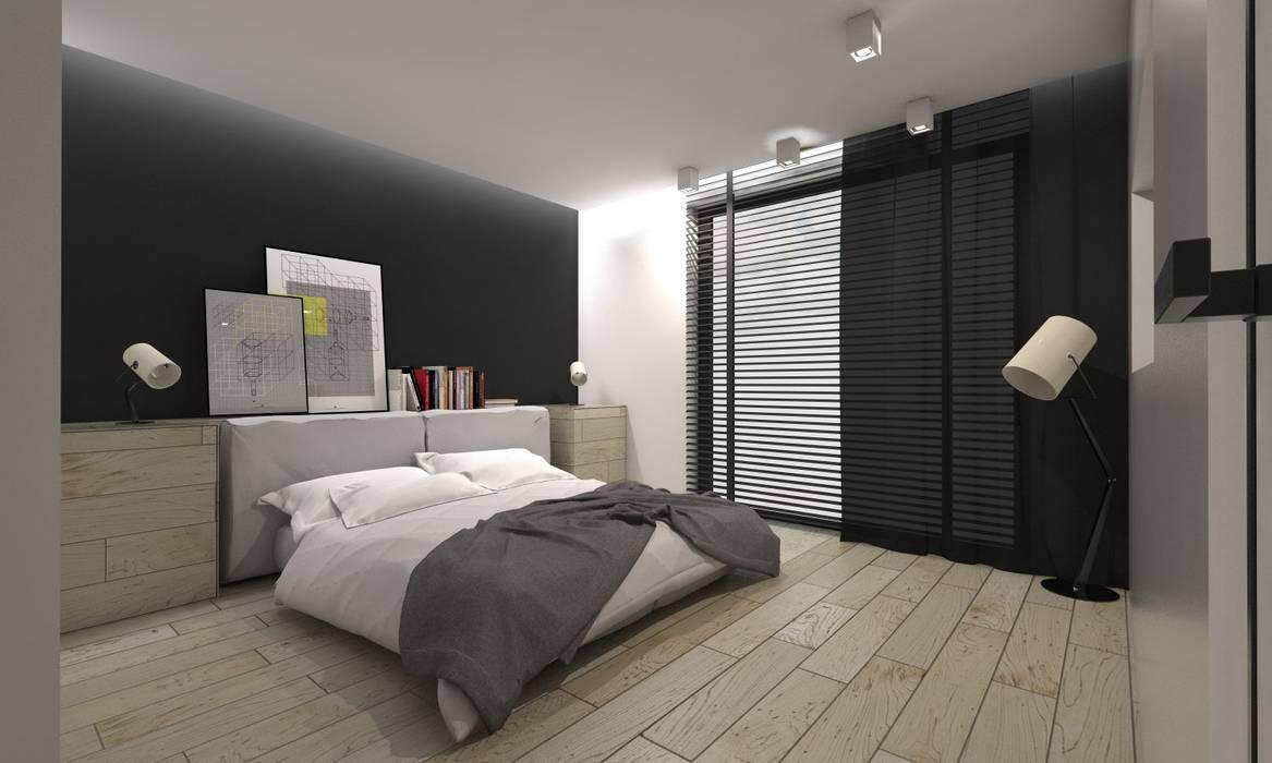 Projekt domu jednorodzinnego 4 Nowoczesna sypialnia od BAGUA Pracownia Architektury Wnętrz Nowoczesny
