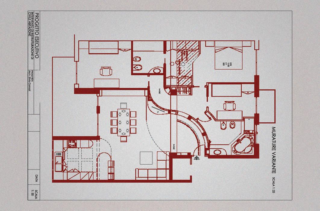 Intervento di ristrutturazione di un appartamento a Roma in via Delle Cave: Soggiorno in stile in stile Moderno di NicArch