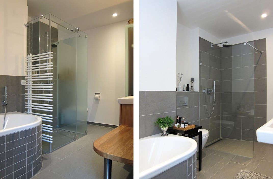 Ein grundriss – zwei bäder moderne badezimmer von hansen ...