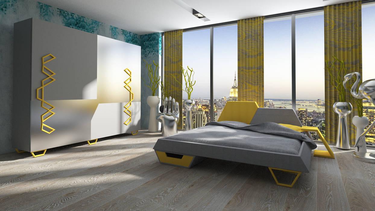 Inan AYDOGAN /IA  Interior Design Office – Yellow Bedroom:  tarz Yatak Odası