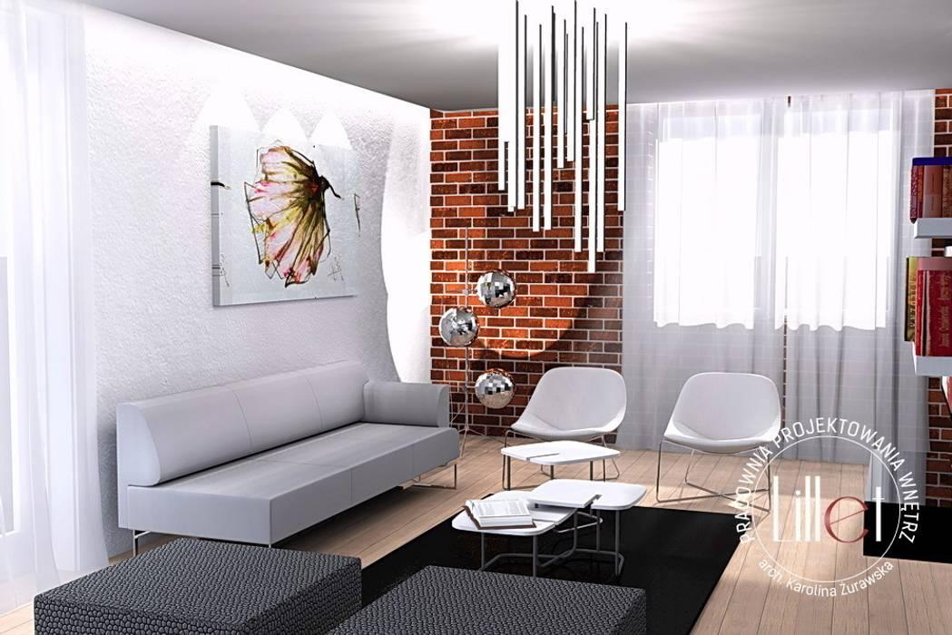 Salon w dwóch odsłonach Nowoczesny salon od ATELIER LILLET Karolina Lewandowska Nowoczesny