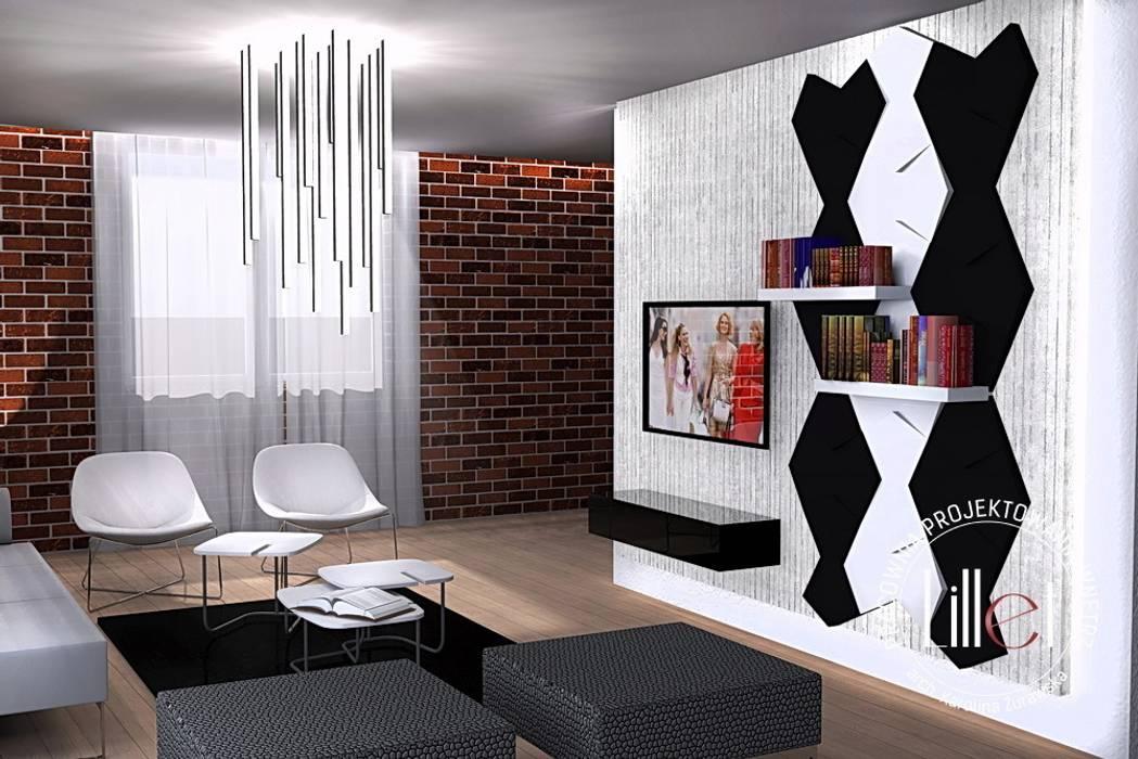 Salon w dwóch odsłonach Nowoczesny salon od Pracownia projektowa Atelier Lillet Nowoczesny