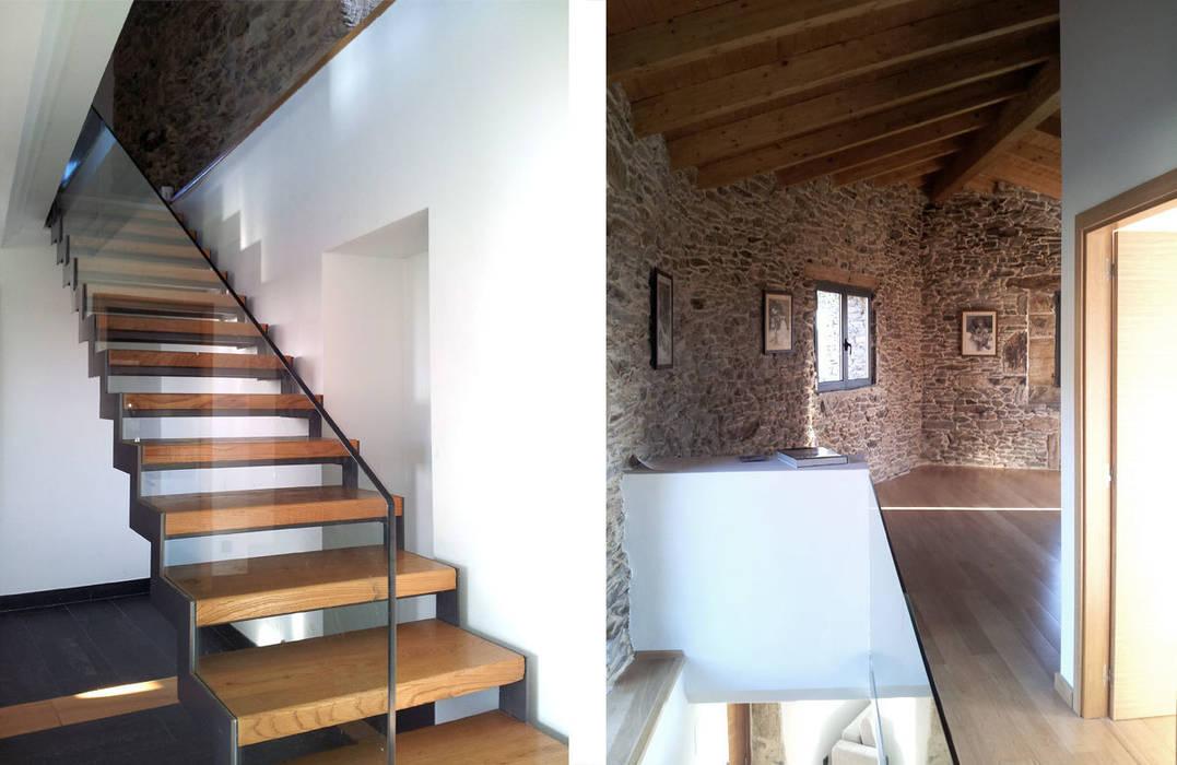 arquitectura SEN MÁIS Eclectic style corridor, hallway & stairs