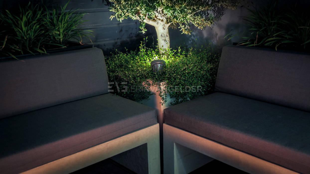 Olijfboom uitgelicht met Led spot Moderne tuinen van ERIK VAN GELDER | Devoted to Garden Design Modern