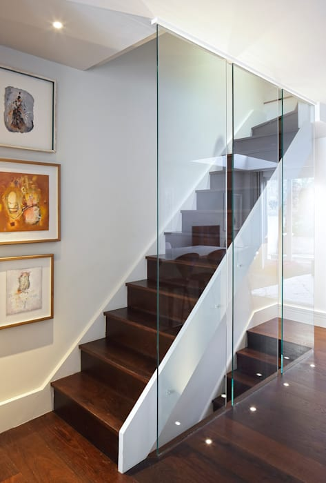 Redesdaale Street Chelsea Basement Development Staircase with Glass Balustrade :  Corridor & hallway by Shape Architecture,
