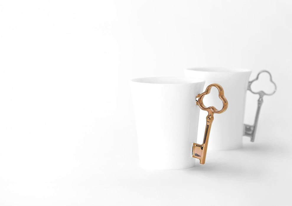 Bronze and Platinum Key Handle Mugs: eclectic  by Gary Birks, Eclectic