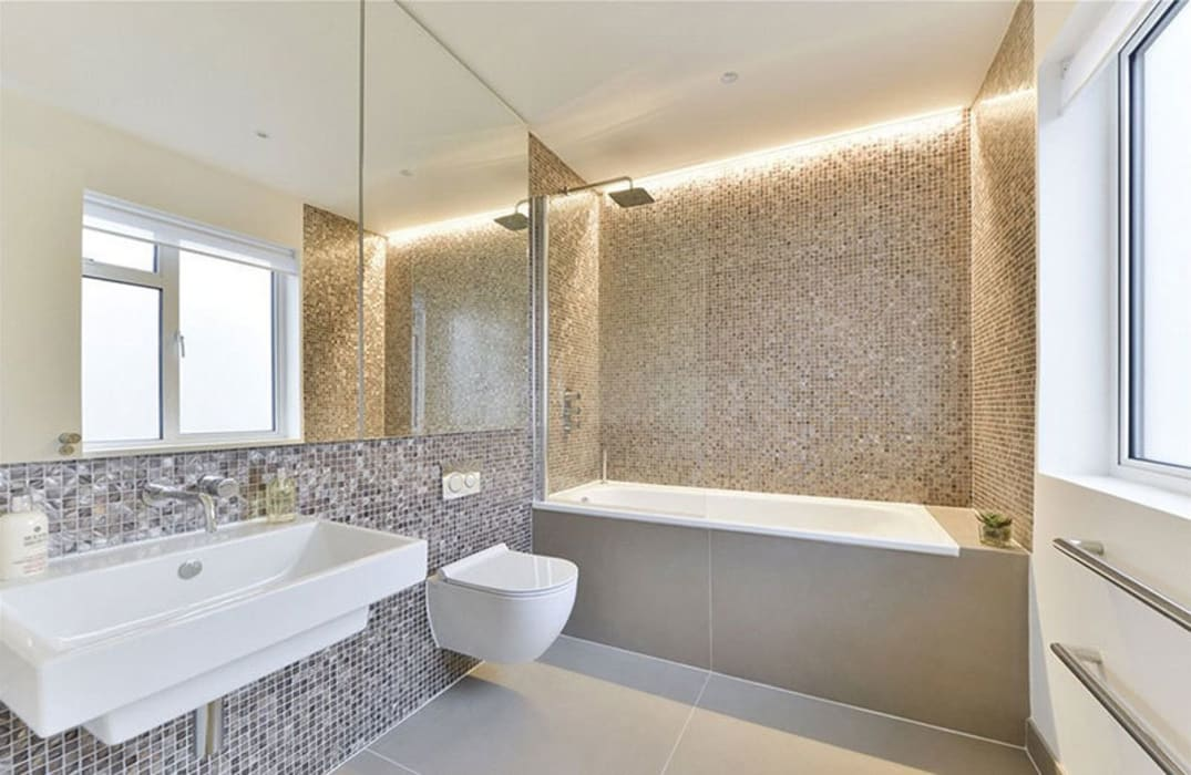 Dyed and pure white hexagon freshwater Mother of Pearl mosaics Modern bathroom by ShellShock Designs Modern