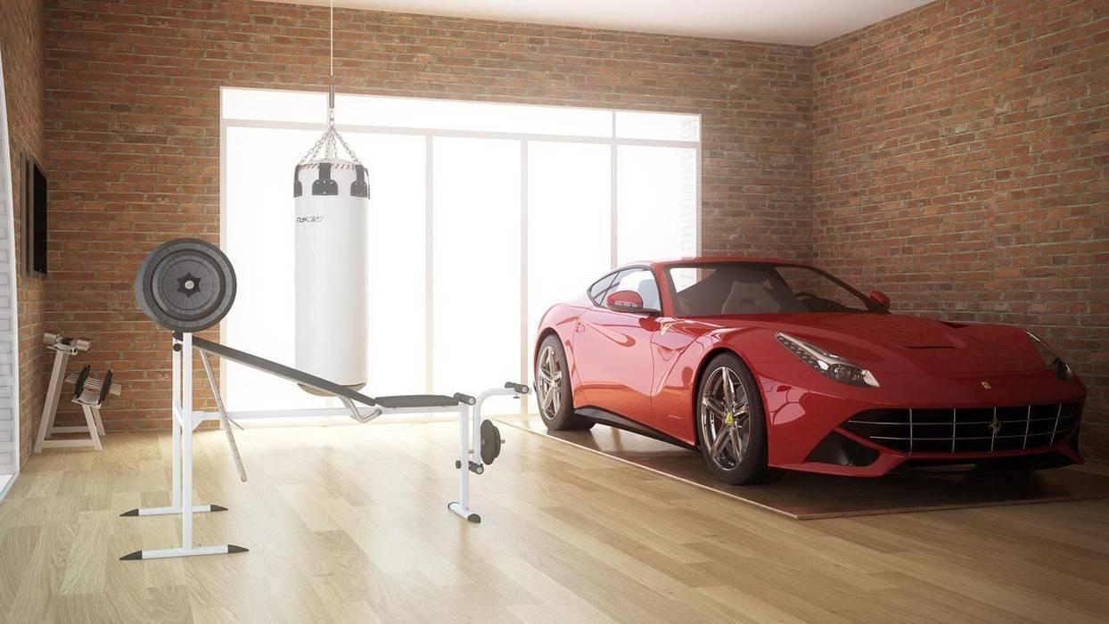 Reconversión de un Garaje en Estudio y Gimnasio - Diseño 3D -: Estudios y despachos de estilo  de EXA4 AEC Soft & Services