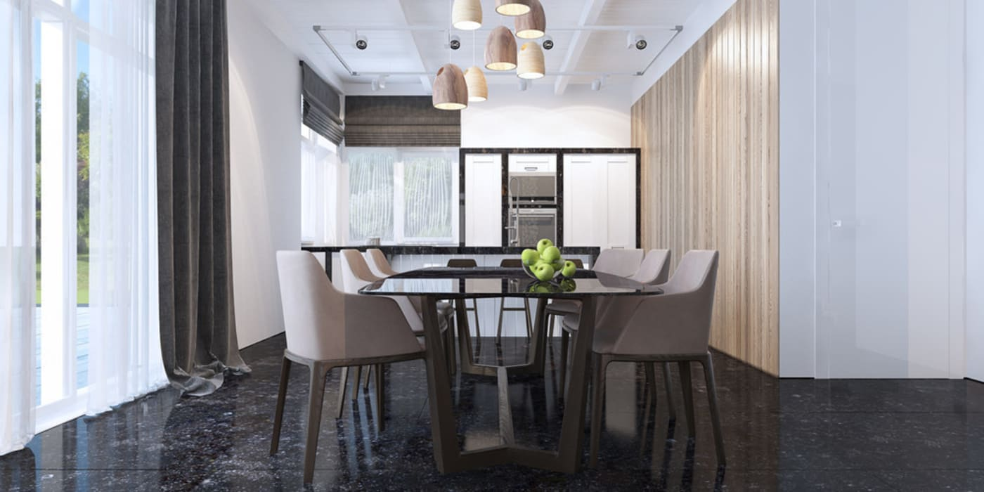 Гостиная в загородном доме Столовая комната в стиле минимализм от Tatiana Shishkina Минимализм