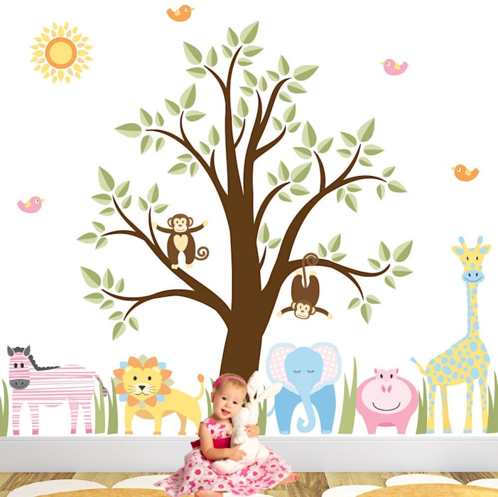 Deluxe Jungle Animal Luxury Nursery Wall Art Sticker Design for a baby boys or baby girls nursery room by Enchanted Interiors Modern