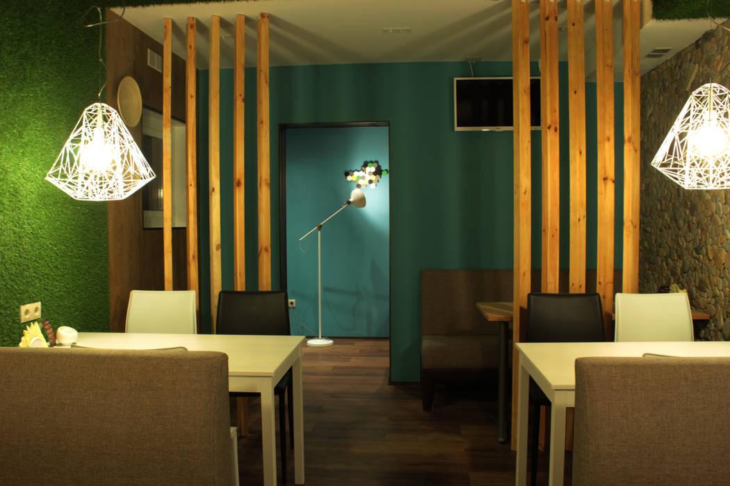Интерьер сетевого суши-бара Стены и пол в эклектичном стиле от Apolonov Interiors Эклектичный