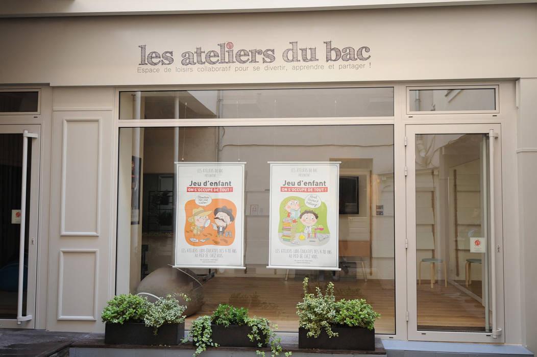 Façade sur cour: Locaux commerciaux & Magasins de style  par MELANIE LALLEMAND ARCHITECTURES