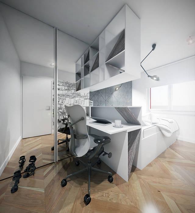 Sypialnia z garderobą i miejscem do pracy Nowoczesna sypialnia od HUK atelier Nowoczesny