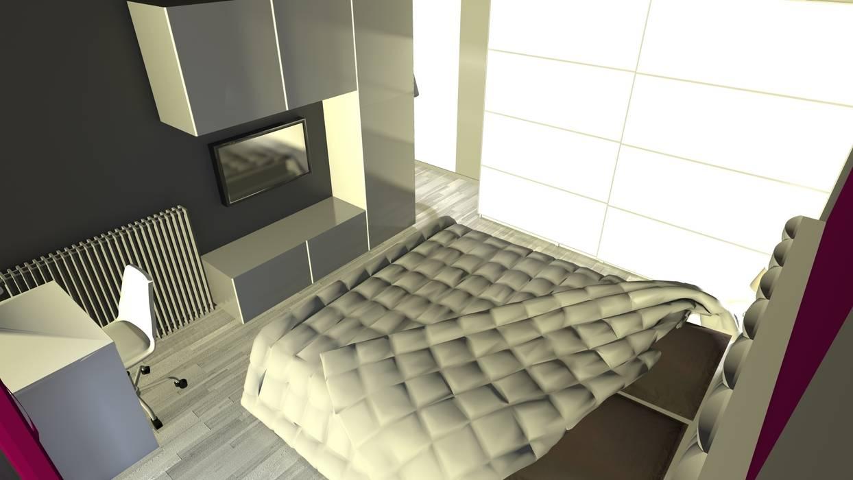 Rendu 3D de la chambre après travaux : l'espace télé: Chambre de style de style Moderne par KARA Design