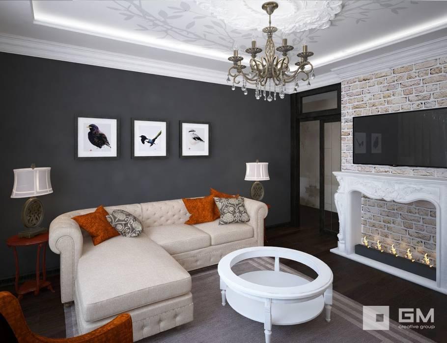 3-х комнатная квартира на ул. Абрамцевская Гостиные в эклектичном стиле от GM-interior Эклектичный