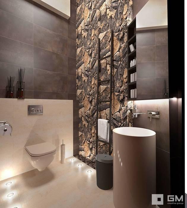 Дом по Рублево-Успенскому шоссе : Ванные комнаты в . Автор – GM-interior, Эклектичный