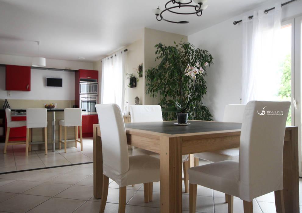 Rénovation d'une cuisine et d'une pièce à vivre: Salle à manger de style  par Violaine Denis