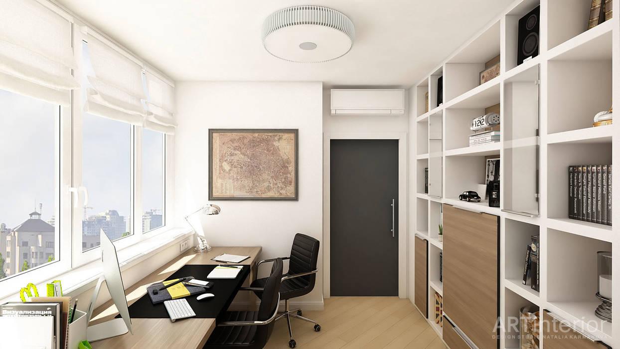 Дизайн интерьера квартиры в Киеве от «Artinterior» «Artinterior» – Студия дизайна интерьера Рабочий кабинет в стиле модерн