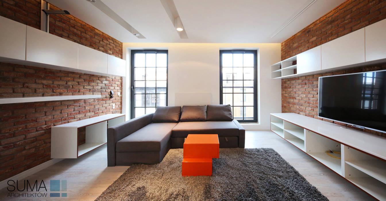LOFT ONE Industrialny salon od SUMA Architektów Industrialny