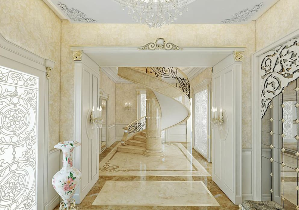 Klasik villa projesi Klasik Koridor, Hol & Merdivenler homify Klasik