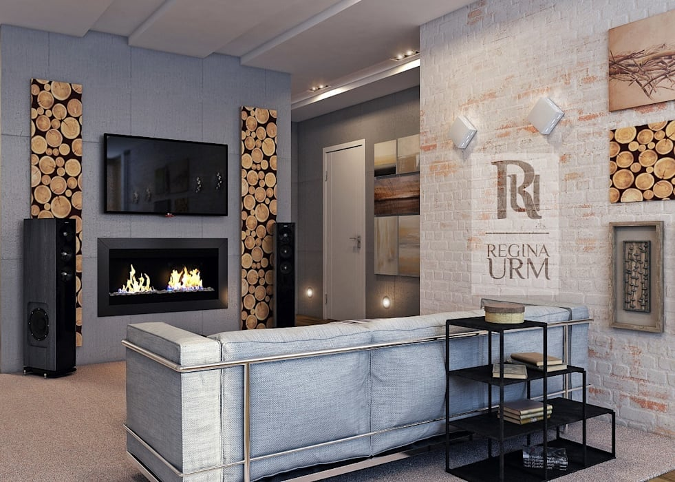 Дизайн проект квартиры в стиле Лофт Гостиная в стиле лофт от Урм Регина Лофт