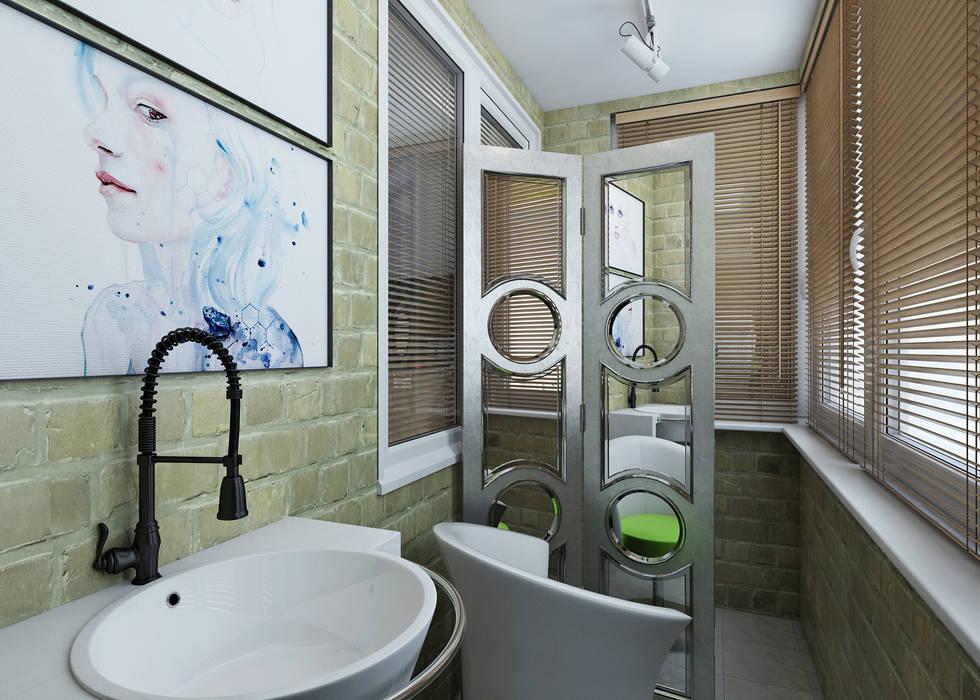 дизайн проект квартиры в стиле Лофт Балкон и веранда в стиле лофт от Урм Регина Лофт