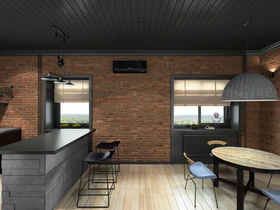 Industrial style dining room by ELENA BELORYBKINA Industrial