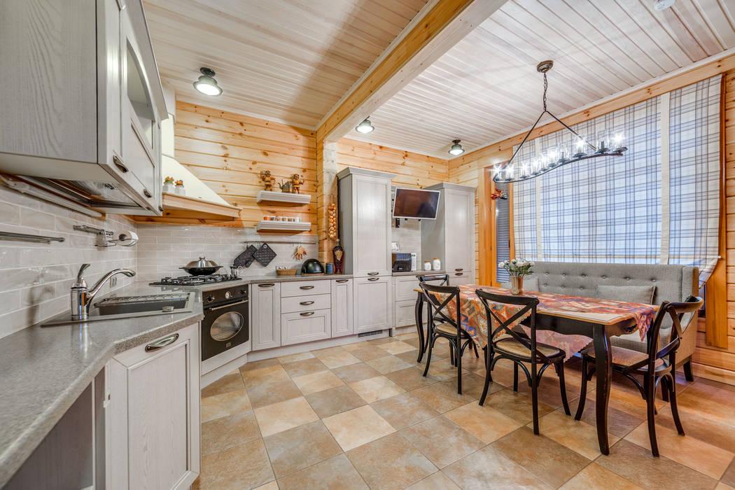 интерьеры загородного дома из клееного бруса кухни в автор Be