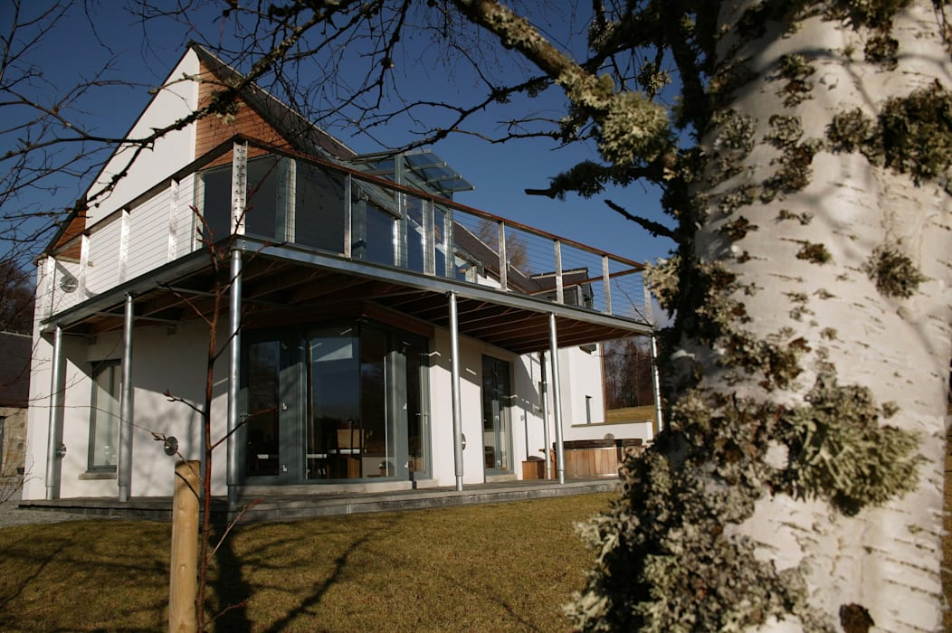 Midport Steading South West Corner:  Terrace by HRI Architects Ltd, Inverness, Scotland,