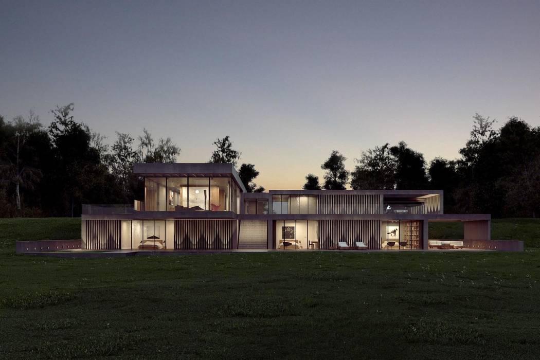 Dom z betonu / widok wieczorny: styl , w kategorii Domy zaprojektowany przez Easst.com