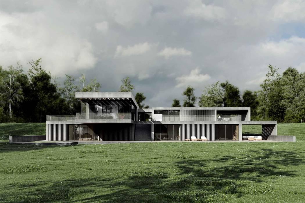 Dom z betonu / widok dzienny: styl minimalistyczne, w kategorii Domy zaprojektowany przez Easst.com