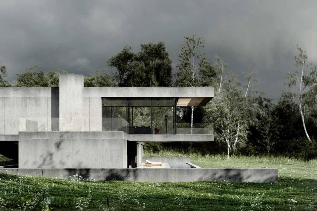 Dom z betonu / perspektywa 2 Minimalistyczne domy od Easst.com Minimalistyczny