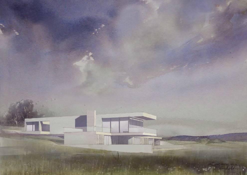 Dom z betonu / perspektywa szkic 2: styl , w kategorii Domy zaprojektowany przez Easst.com
