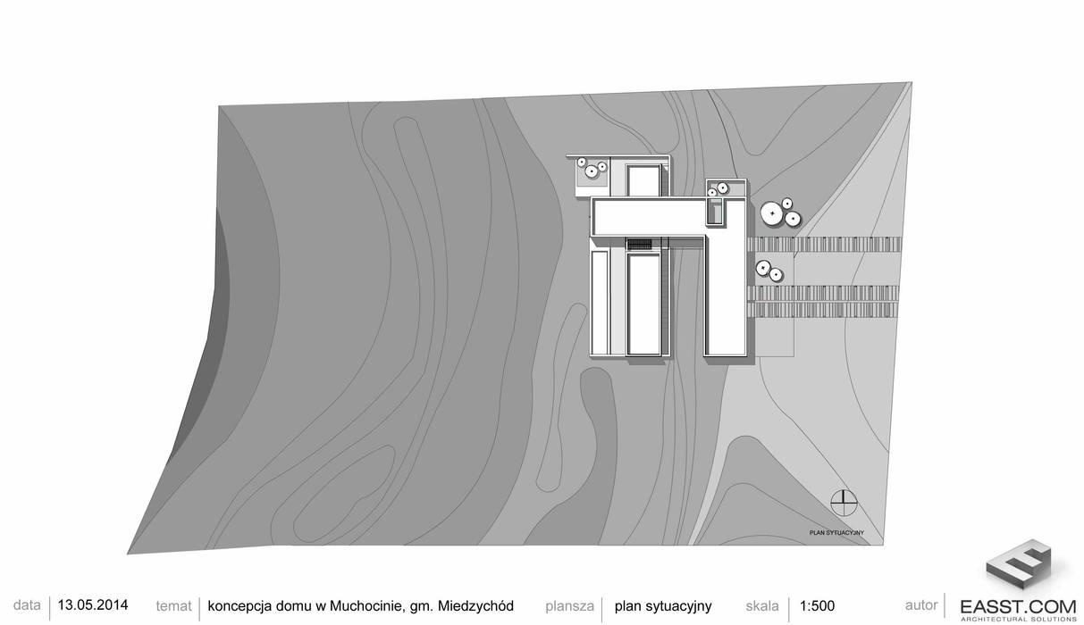 Dom z betonu / plan sytuacyjny: styl , w kategorii Domy zaprojektowany przez Easst.com