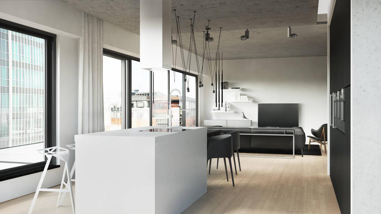 Półwiejska 47 / budynek mieszkalny - wizualizacja wnętrza 02 / mieszkanie od Easst.com Nowoczesny