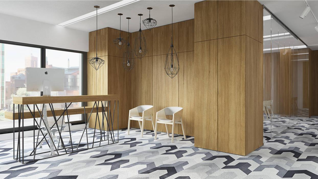 Półwiejska 47 / budynek mieszkalny - wizualizacja wnętrza 03 / biuro: styl , w kategorii Powierzchnie handlowe zaprojektowany przez Easst.com