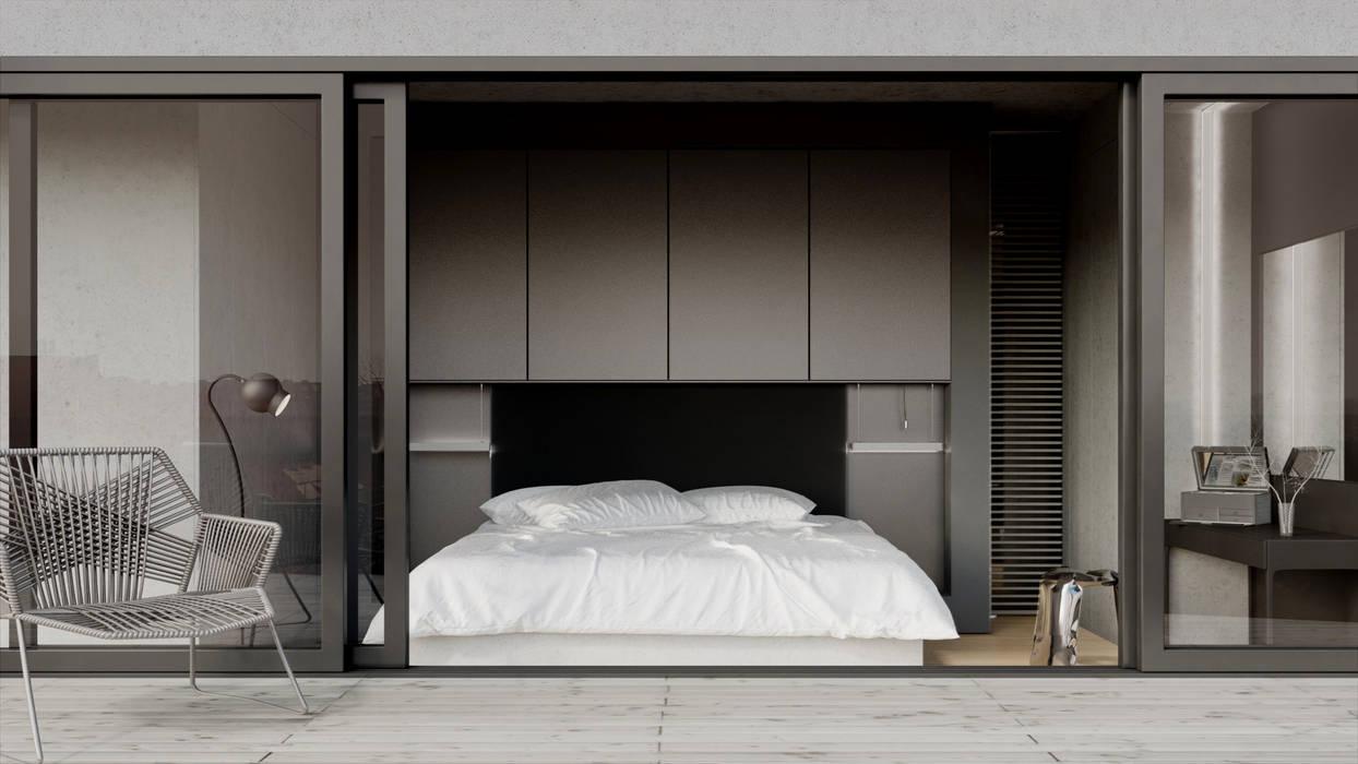 Półwiejska 47 / budynek mieszkalny - wizualizacja wnętrza 05 / mieszkanie / sypialnia: styl , w kategorii Powierzchnie handlowe zaprojektowany przez Easst.com