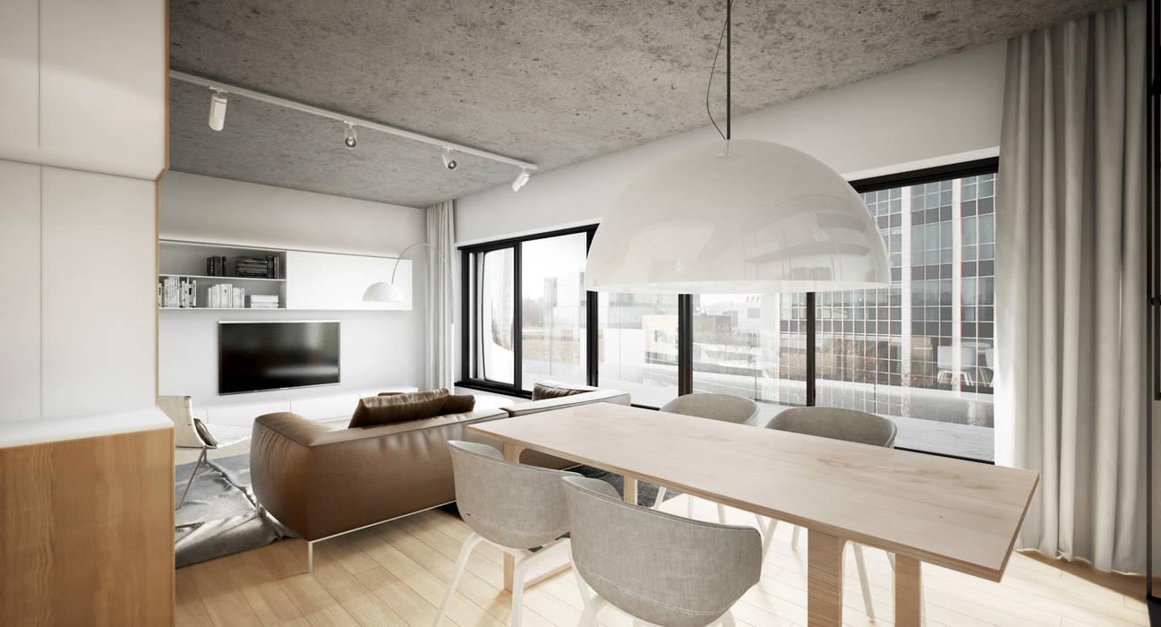 Półwiejska 47 / budynek mieszkalny - wizualizacja wnętrza 07 / mieszkanie / salon: styl , w kategorii Powierzchnie handlowe zaprojektowany przez Easst.com