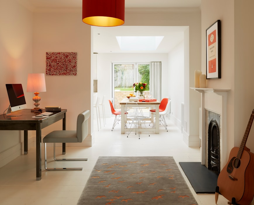 Living room study area leading to kitchen extension Modern living room by ZazuDesigns Modern